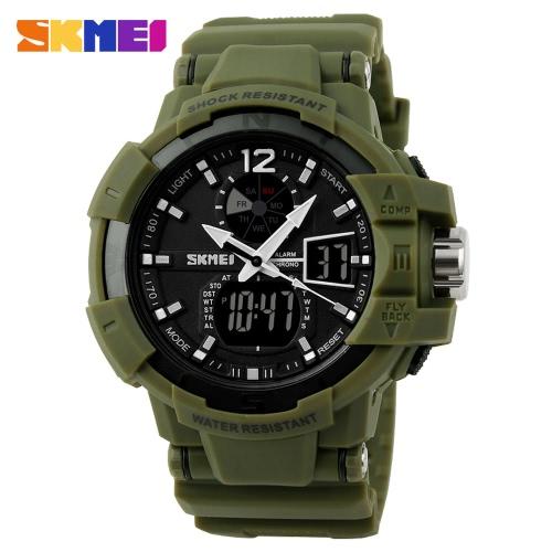 Assista Militar SKMEI analógico-digital Dual Time Relógios Outdoor 3ATM resistente à água Homens Desportos do Exército com calendário Relógio Backlight Semana Cronômetro