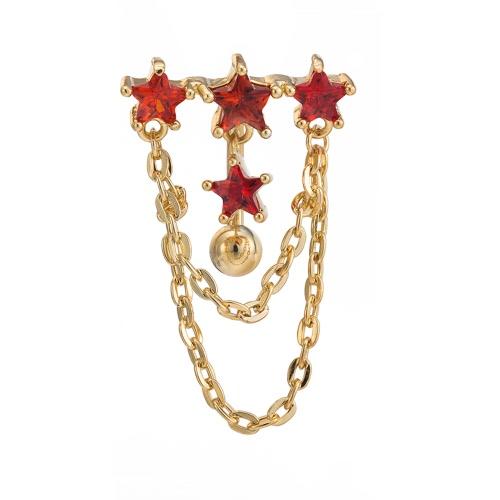 Capas calientes de la manera atractiva del doble de cobre con Zircon del Rhinestone cristalino del ombligo del botón de vientre del anillo del clavo de la joyería Piercing del cuerpo para el regalo de las mujeres