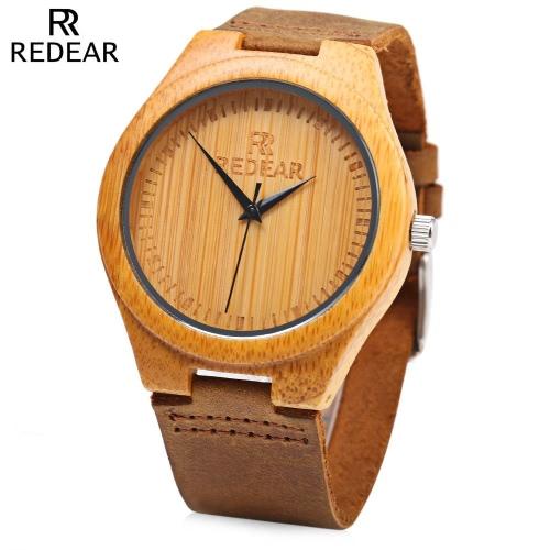 REDEAR Proste wybieranie Unikalne Natural Bamboo Zegarek Dzienne Wodoszczelność High-end Man kwarcowy zegarek na rocznicę ślubu