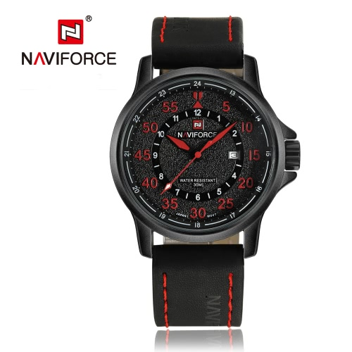Correa NAVIFORCE 2016 nuevo de la manera del cuarzo del reloj del hombre de alta calidad PU cuero ocasional de los hombres de negocios Reloj de pulsera resistente al agua 30M W / Caja