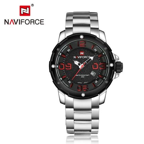 NAVIFORCE Relógio de aço com quartzo de aço inoxidável