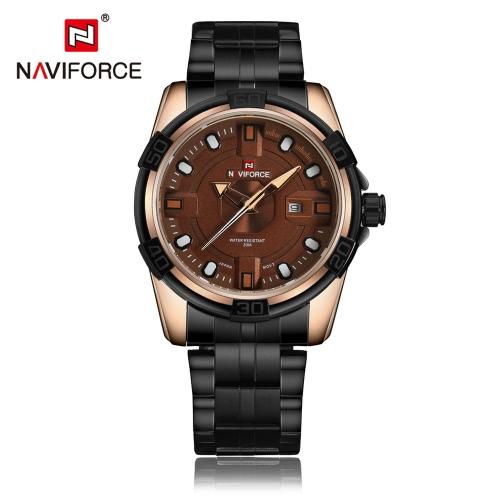 Resistente à água NAVIFORCE 2016 Aço Inoxidável Moda de Nova Man Quartz Relógio de pulso 30M Casual Assista legal para os homens W / Box