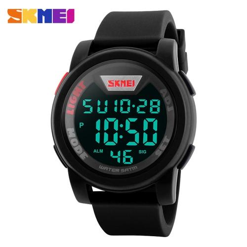 SKMEI 5ATM Water Resistant Simple High-end Fashion Digital Watch Excellent Unisex Wristwatch with Chronograph Alarm Calendar