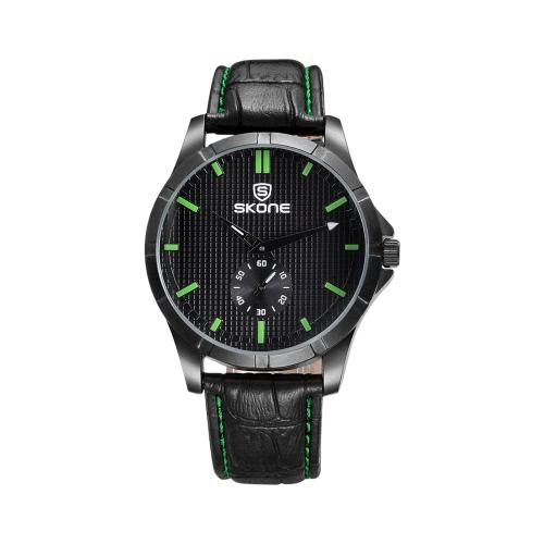 SKONE de la marca de moda a prueba de agua ocasional de los hombres del cuero de la PU de los relojes del reloj de cuarzo analógico reloj de pulsera para hombre vestido Masculino Relógio