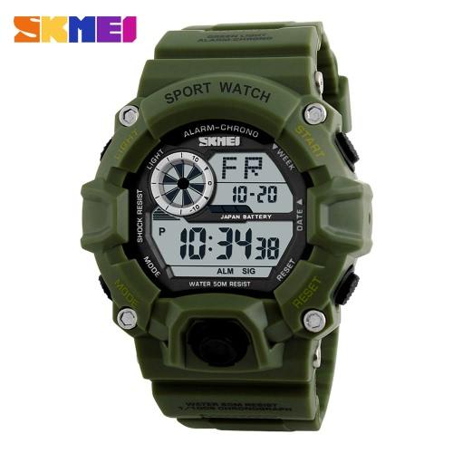 SKMEI Marca Digital LED 50M a prueba de agua Deportes Los militares relojes de manera electrónica al aire libre del hombre del reloj de alarma de luz de fondo Casual Fecha Cronógrafo Masculino Relógio