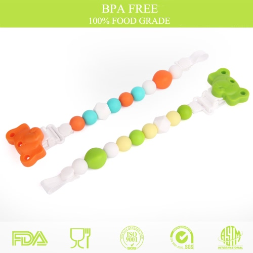 100% Food Grade Cute Colorful Silicone BPA Free Pacifier Clip Holder Chain Soft Beads for Teething Teether Chew Nursing Soothing Jewelry Toy Baby Boys Girls Toddler Gift, TOMTOP  - buy with discount