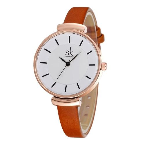 SK Brand Luxury PU Leather Strap Quartz Women Relógios