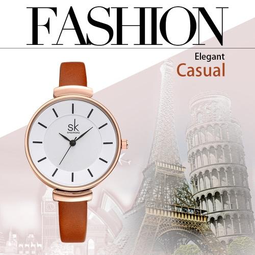 SK Brand Luxury PU Leather Strap Quartz Women Watches Simplicity Analog 30M Water-Proof Ladies Wristwatch Feminio Relogio