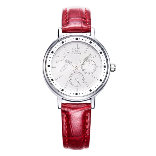 SK Fashion Luxury PU Leather Luminous Women Casual Watches