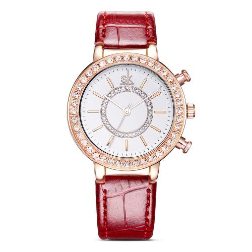 SK Moda Luksusowa diamond wodoodporne zegarki analogowe kwarcowy Kobiety PU skórzany pasek Ladies Casual Zegarki Złota Róża Case