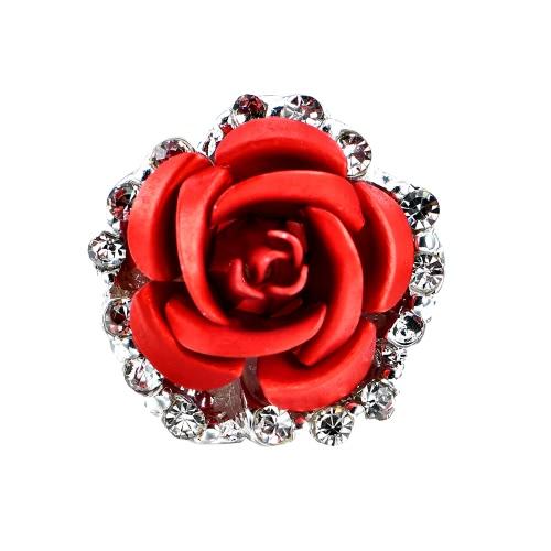 Moda de aleación de cristal Rhinestone Pendientes de perno prisionero para las mujeres Chica Rose Flor Rojo Azul Opcional regalo de fiesta de la boda Accesorios de joyería de lujo