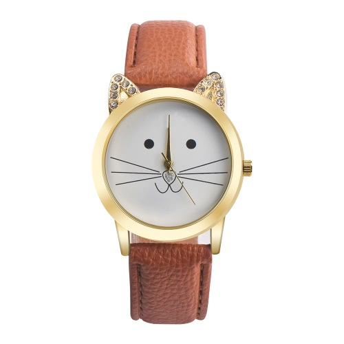 New Fashion Women All-match Acessórios Neutral Diamond Lovely Cats Face Faux Leather Band Quartz Watch