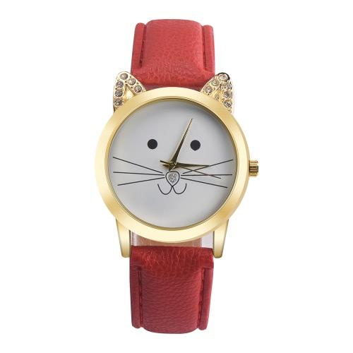 Nuevo diamante neutral accesorio del Todo-fósforo de las mujeres de la manera Gato encantador del cuarzo de la venda del cuero del Faux de la cara de los gatos