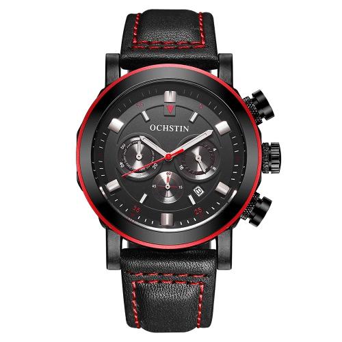 OCHSTIN 2017 Reloj De Hombre De Lujo De Moda Reloj Reloj Luminoso De Cuarzo De Cuero Genuino Water-Proof Chronograph Man Casual Watch + Box