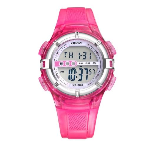 DIRAY Relojes deportivos para niños Reloj deportivo 5ATM Niños resistentes a agua Niñas Reloj de pulsera con alarma LED Backlight Función