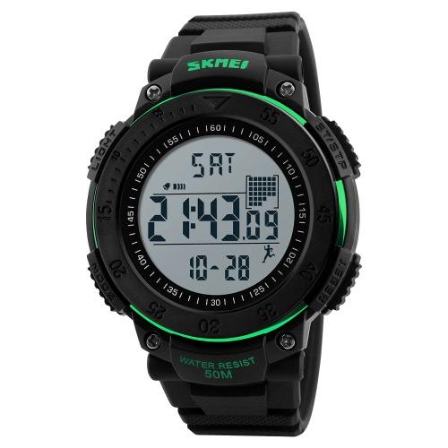 SKMEI Unisex Digital Reloj Hombres Relojes deportivos Podómetro 5ATM resistente al agua Relojes de pulsera Retroiluminación Reloj Pedómetro Relogio Musculino