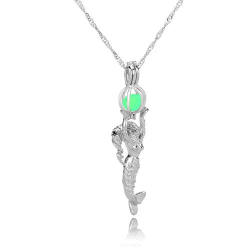 Art und Weise Retro- Mond-glühende hohle Halsketten-Türkis-Meerjungfrau-hängende Charme-Schmucksache-Geschenk