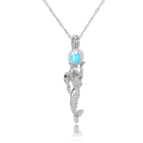 Regalo pendiente de la joyería del encanto de la sirena de la turquesa del collar hueco resplandor de la luna retra de la manera