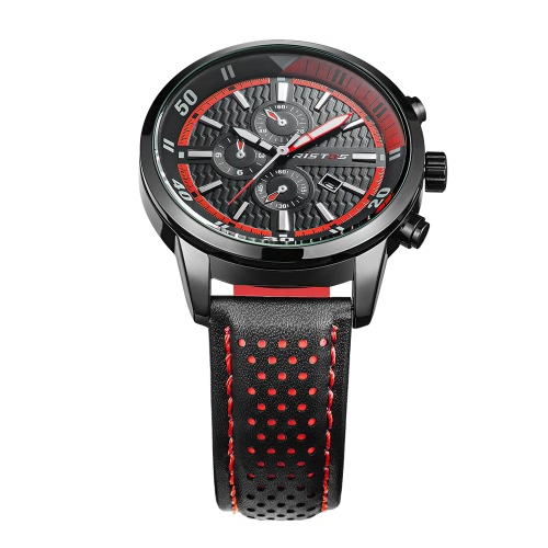 RISTOS 2017 Luminous Sports Military Style Men Watch Quartz Water-Proof Man Casual Wristwatch PU Leather Strap Masculino Relogio + Box