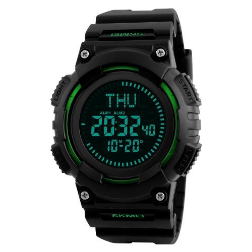SKMEI 5ATM Wasserdichte Sportuhr Herren Digital Uhren Hintergrundbeleuchtung Armbanduhr Männliche Kompass Stoppuhr