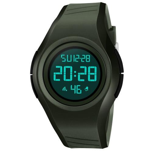SKMEI 5ATM resistente al agua reloj deportivo estudiantes reloj de retroiluminación reloj de pulsera hombre cronógrafo alarma
