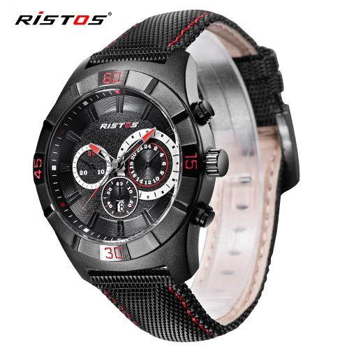 RISTOS 3ATM Reloj resistente al agua del reloj del cuarzo del reloj del deporte de los hombres mira el calendario masculino