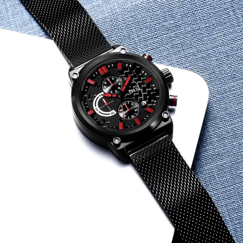 Bolisi Fashion Casual Quartz Watch 3ATM Water-resistant Watch Men Wristwatches Male Seconds Timer Minutes Timer Calendar