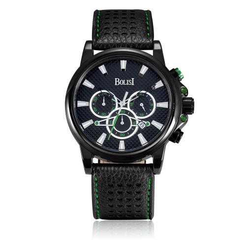 Bolisi moda casual reloj de cuarzo 3ATM hombres resistente al agua Relojes de cuero genuino Reloj de pulsera calendario masculino calendario
