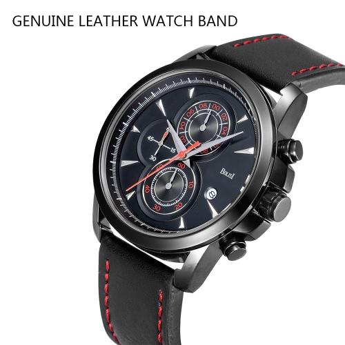 Bolisi Fashion Casual Quartz Watch 3ATM Water-resistant Men Watches Genuine Leather Wristwatch Male Calendar Timer