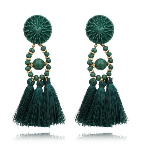 Moda étnica estilo retro cristal cuentas borla cuelgan pendientes de gota para las mujeres accesorio de joyería