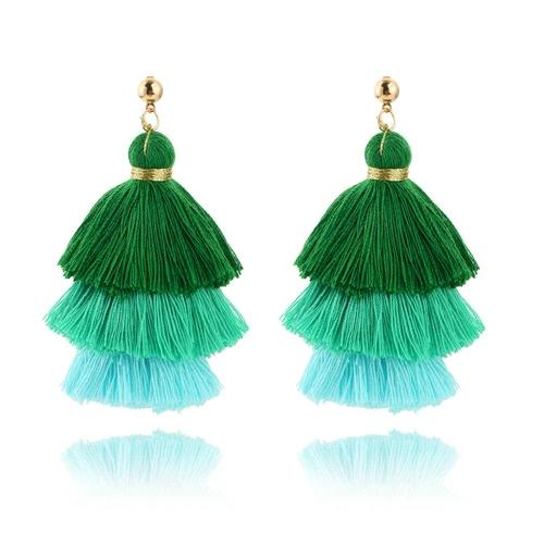 Moda moda tres colores empalme borla gancho franja Boho cuelgan pendientes de gota mujeres joyas