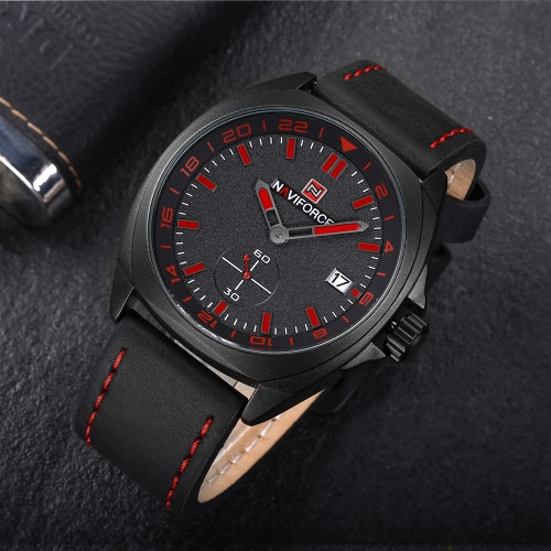 NAVIFORCE Fashion Genuine Leather Quartz Men Watch Sports Style 3ATM Water-Proof Man Casual Wristwatch Calendar + Box