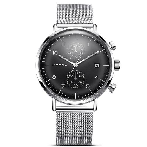 SINOBI reloj deportivo 3ATM resistente al agua reloj de cuarzo hombres Relojes de pulsera cronógrafo calendario masculino