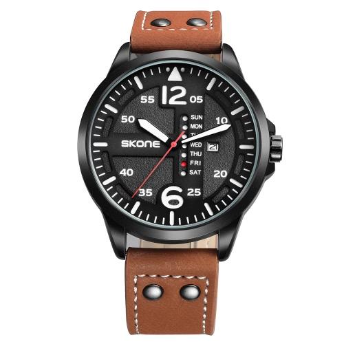 SKONE Fashion Casual Relógio Quartz 3ATM Relógio Resistente à Água Relógio de pulso luminoso Semana Masculina Masculina