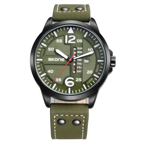 SKONE moda casual reloj de cuarzo 3ATM resistente al agua Reloj luminoso reloj de semana masculino del calendario