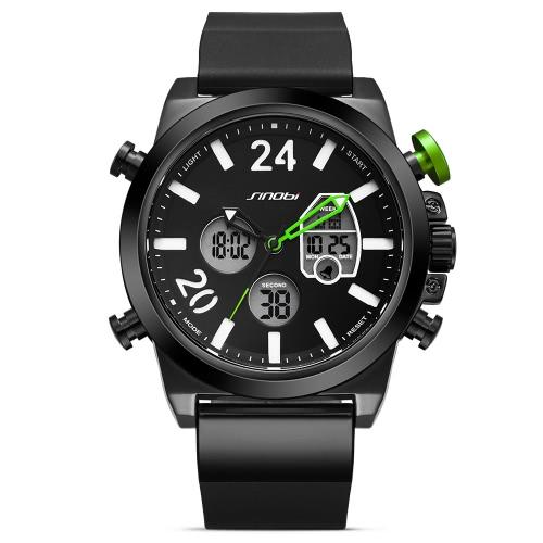 SINOBI Sport Montre à quartz 3ATM Montres homme résistant à l'eau Montre à bracelet lumineux Homme Chronographe
