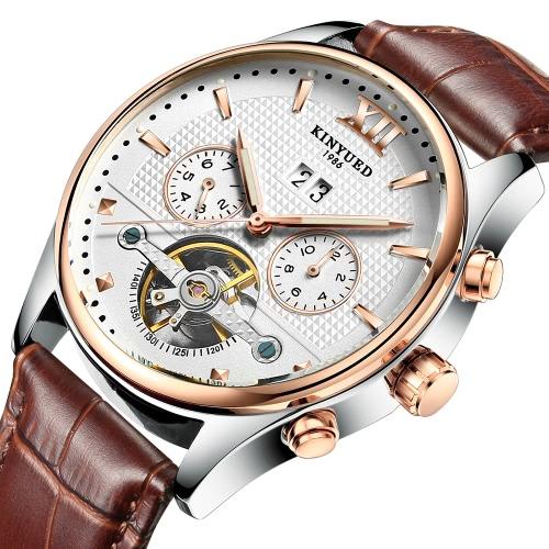 KINYUED Reloj de Negocios 3ATM Resistente al Agua Relojes Mecánicos Automáticos Relojes Luminoso Reloj de Piel Genuina Hombre