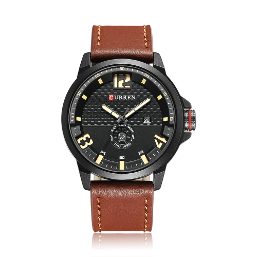 CURREN 2017 Cool PU Leather Quartz Men Watch Water-Proof Calendário Man Casual Relógio de pulso