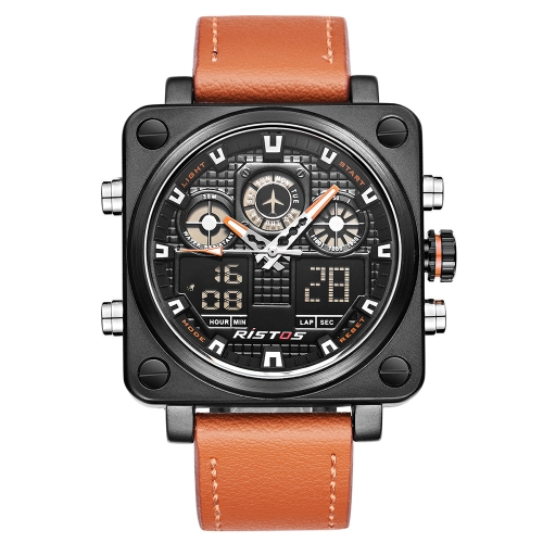 RISTOS A prova de água Dual Display Digital Quartz Men Watch Leather Band Chrono Sports Military Men Watch Clock Backlight + Box
