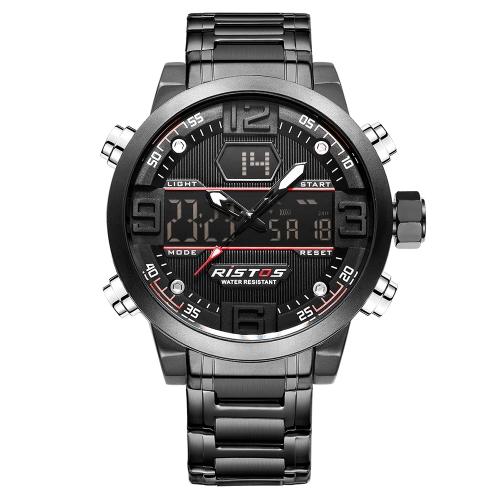 Reloj digital de cuarzo con pantalla dual RISTOS, resistente al agua Reloj deportivo EL de acero inoxidable, cronómetro con cronógrafo, cronómetro por hora, fecha / semana + caja