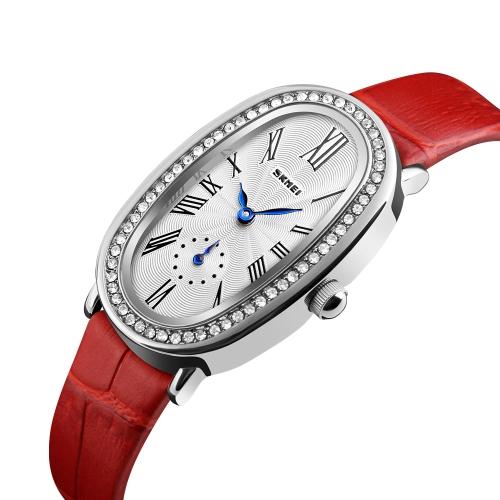 Reloj de cuarzo casual Fashion SKMEI 3ATM Relojes de mujer resistente al agua Reloj de pulsera de cuero genuino Femenino Relogio Feminino