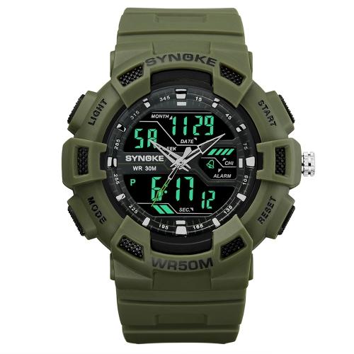 SYNOKE Digital Sport Watch 5ATM Relógios impermeáveis para homens Retroiluminação Relógio de pulso Cronômetro masculino