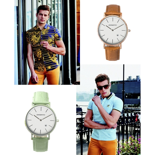 BEDATE Imitative Jade Genuine Leather Fashion Simple Men Watches