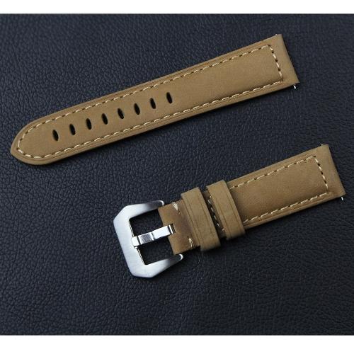 Banda de reloj de cuero genuino de la manera para Samsung Gear S3 22mm Pulsera de reloj Pin Hebilla de reemplazo de banda