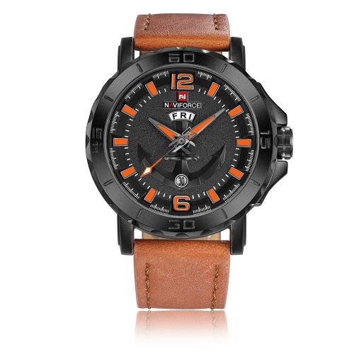 NAVIFORCE Cool Luminous Quartz Men Watch 3ATM Water-Proof Hombre Casual Reloj de pulsera de cuero genuino Calendario y semana + Caja
