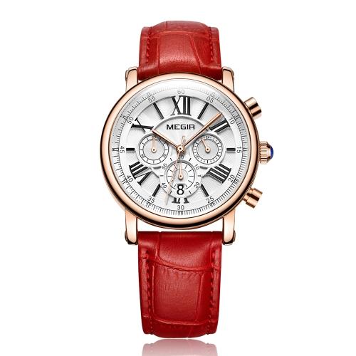 MEGIR Relógios de mulher de luxo de moda 3ATM Quartz resistente à água Mulher Relógio de pulso Calendário de cronógrafo