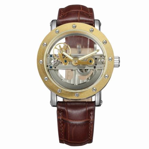 FORSINING Moda de Lujo Mecánico de Cuero Genuino Hombres Relojes Reloj de pulsera Automático Luminoso Hombre Relogio Musculino