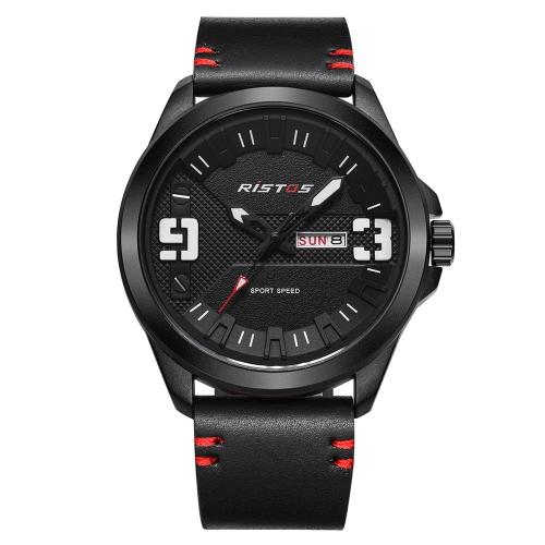 RISTOS Mode Sport Männer Uhren 3ATM wasserdicht Quarz Luminous Casual Mann Armbanduhr Kalender