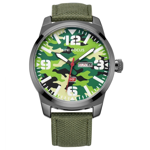 MINI FOCUS Fashion Nylon Men Relojes Cuarzo 3ATM resistente al agua Luminous Casual Man Reloj de pulsera Calendar Week