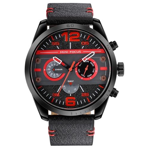 MINI Focus Fashion 3ATM reloj de cuarzo a prueba de agua reloj de cuero genuino deportivo estilo militar cronógrafo hombre reloj de pulsera casual + caja